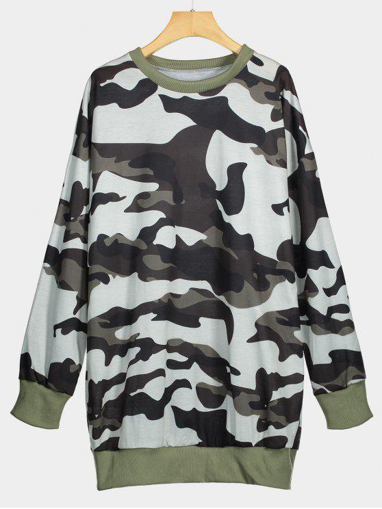 trendy Crew Neck Camouflage Longline Sweatshirt - CAMOUFLAGE L