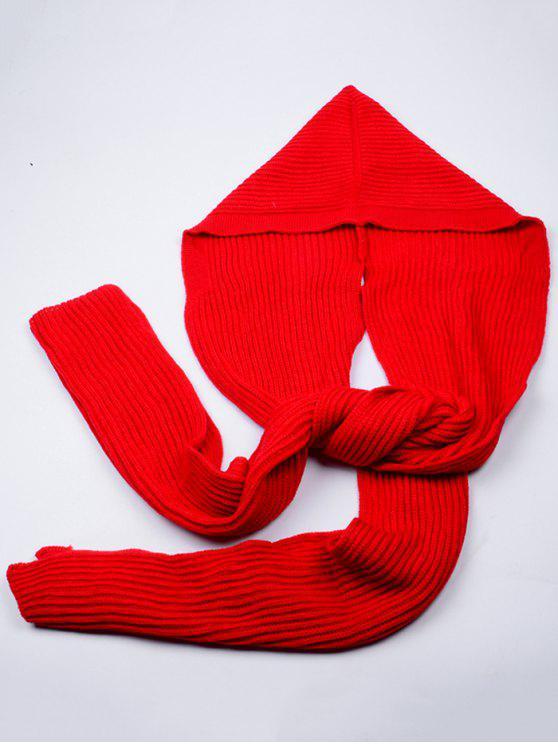 Écharpe Long Extérieur en Crochet à Capuche - Rouge Clair
