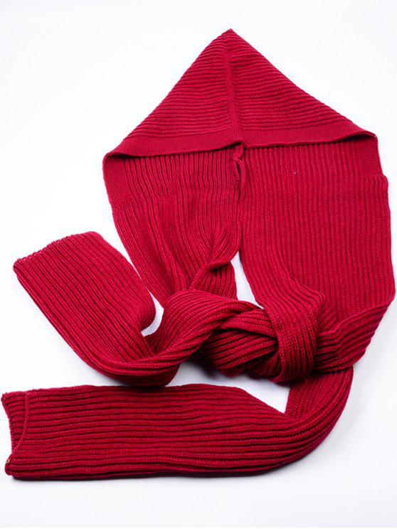 online Outdoor Crochet Hooded Long Scarf - DEEP RED