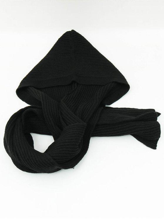 hot Outdoor Crochet Hooded Long Scarf - BLACK