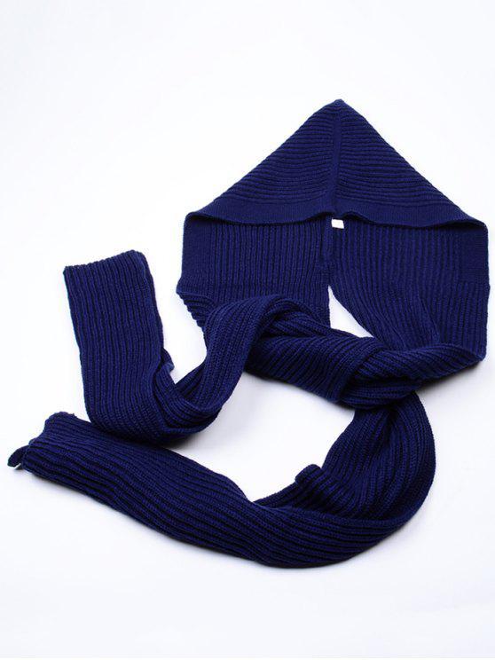 Écharpe Long Extérieur en Crochet à Capuche - Bleu Violet