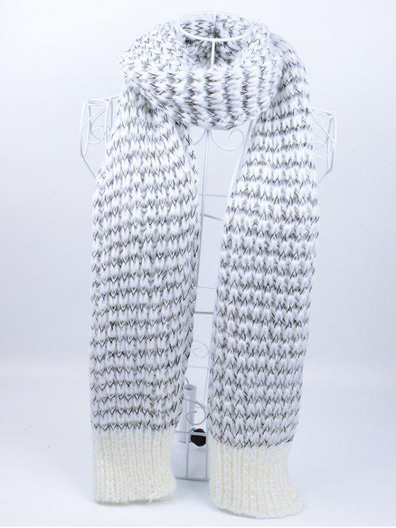 Cachecol de malha de padrão ondulado ondulado ao ar livre - Cinzento