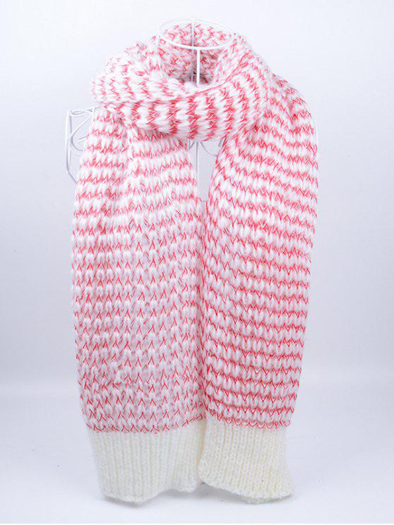 womens Outdoor Wavy Stripe Pattern Knitted Scarf - PINK