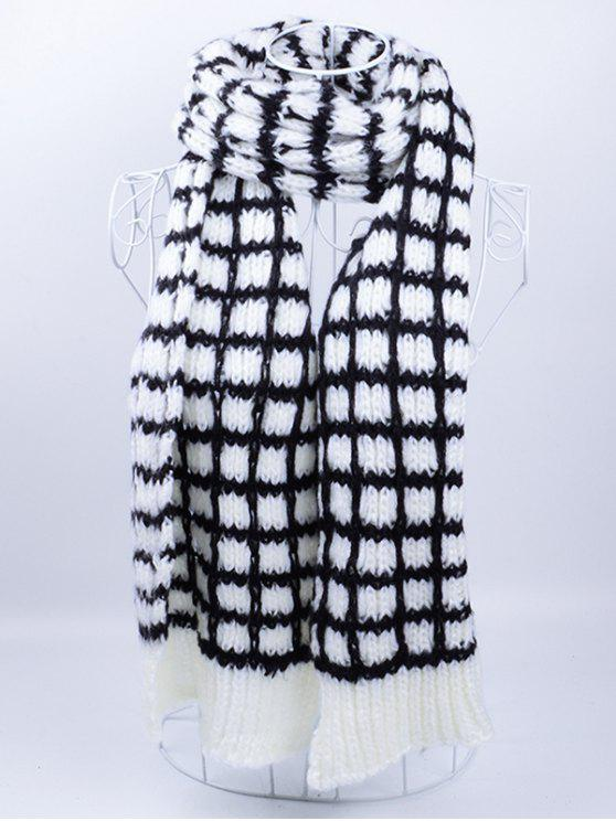 trendy Outdoor Crochet Checked Pattern Scarf - BLACK WHITE