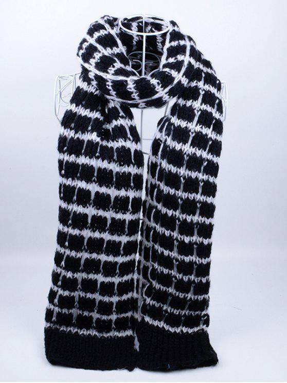 unique Outdoor Crochet Checked Pattern Scarf - BLACK