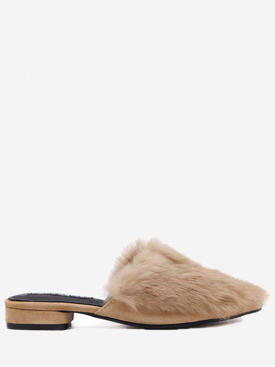 lady Low Heel Faux Fur Pointed Toe Slippers - BROWN 35