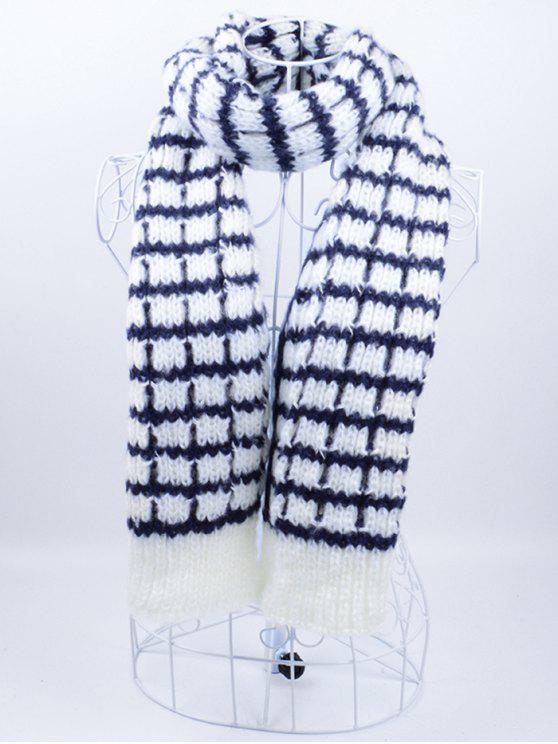new Outdoor Crochet Checked Pattern Scarf - BLUE AND WHITE