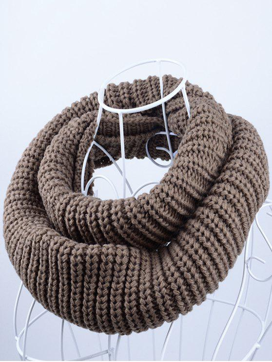 chic Outdoor Chunky Infinity Knitted Scarf - LIGHT COFFEE