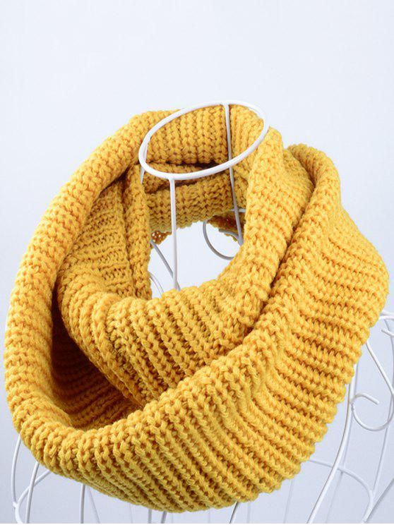 buy Outdoor Chunky Infinity Knitted Scarf - YELLOW