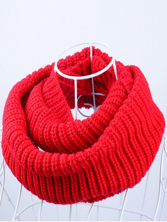 ladies Outdoor Chunky Infinity Knitted Scarf - BRIGHT RED