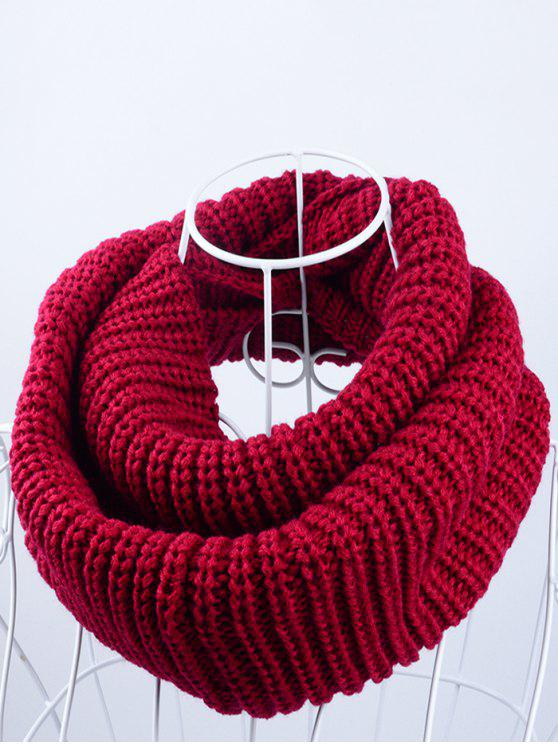 online Outdoor Chunky Infinity Knitted Scarf - DARK RED