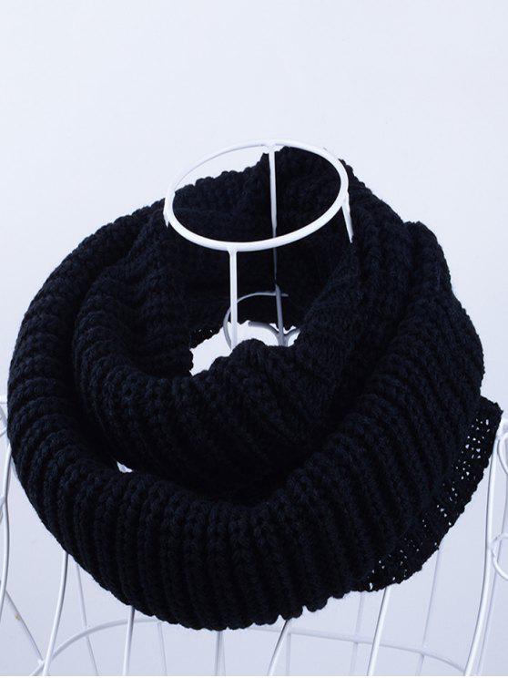 Écharpe Tricotée Extérieur Épais Infinie - Noir