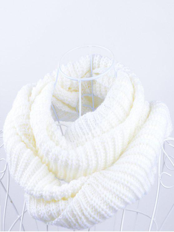 chic Outdoor Chunky Infinity Knitted Scarf - WHITE