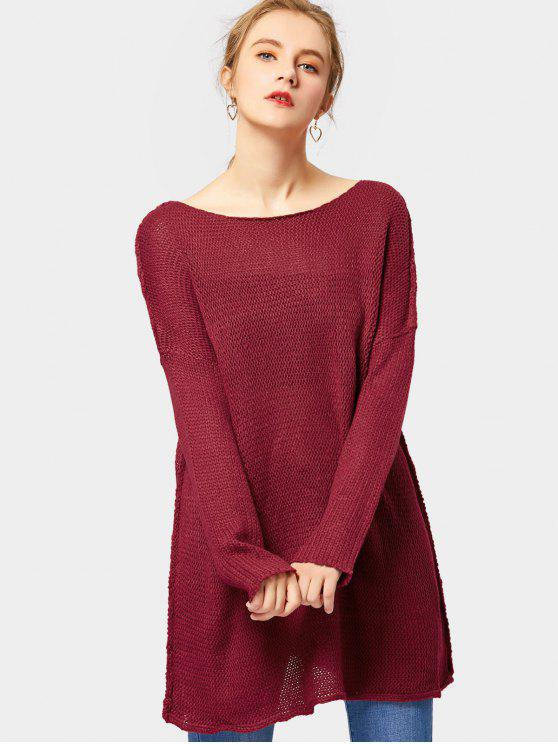 Loose Fit Pullover Tunic Sweater WINE RED: Sweaters XL | ZAFUL