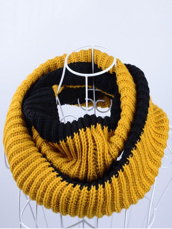 lady Slouchy Lightweight Knitted Infinity Scarf - EARTHY BLACK/BLUE YELLOW/BLACK YELLOW