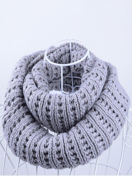 shop Soft Simple Color Knitted Infinity Scarf - GRAY