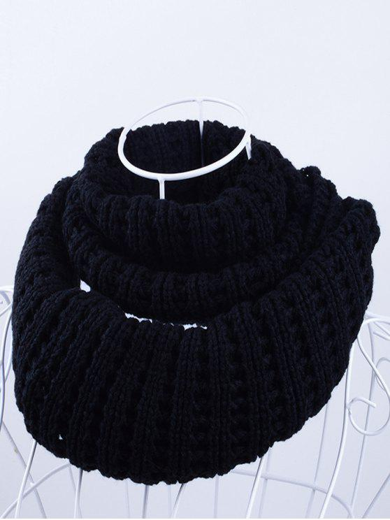 latest Soft Simple Color Knitted Infinity Scarf - BLACK
