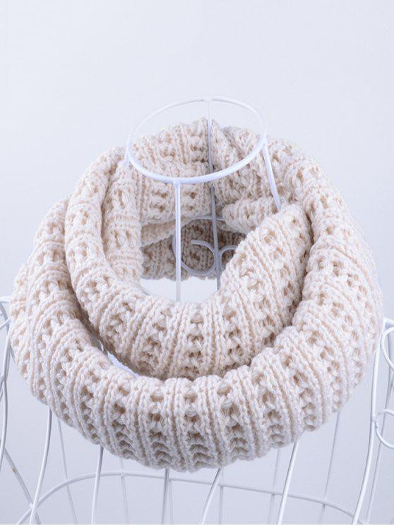 fashion Soft Simple Color Knitted Infinity Scarf - OFF-WHITE