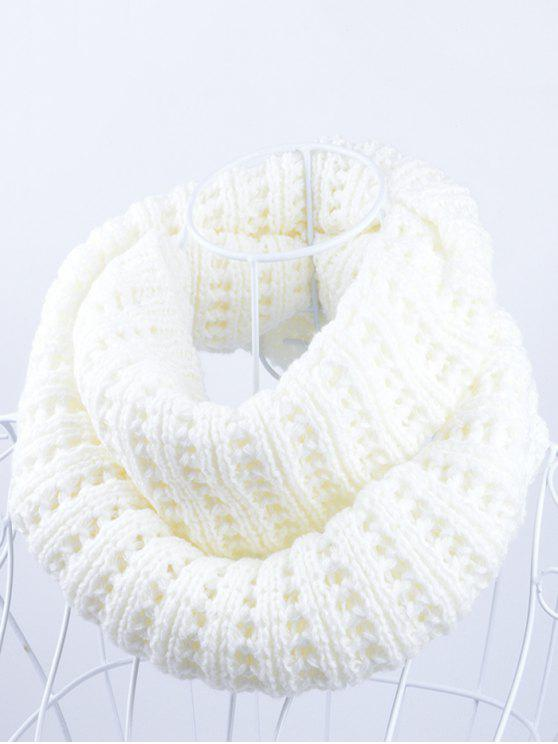 buy Soft Simple Color Knitted Infinity Scarf - WHITE