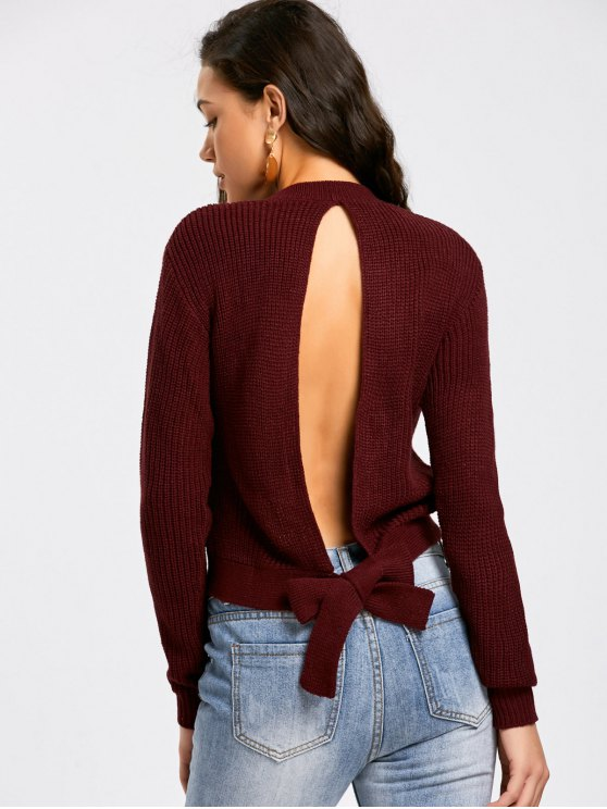 lady Tied Back Cut Out Sweater - DARK RED M