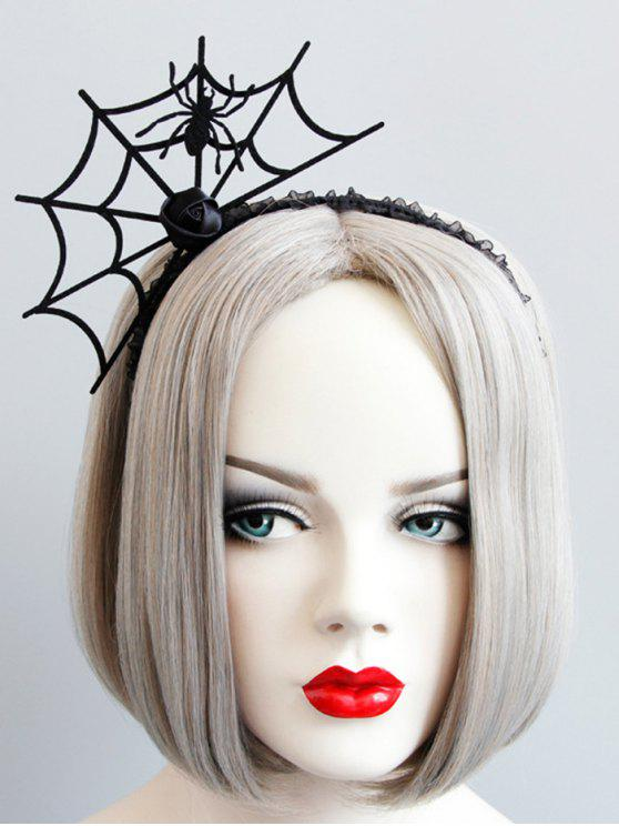 best Halloween Rose Flower Spider Web Hairband - BLACK