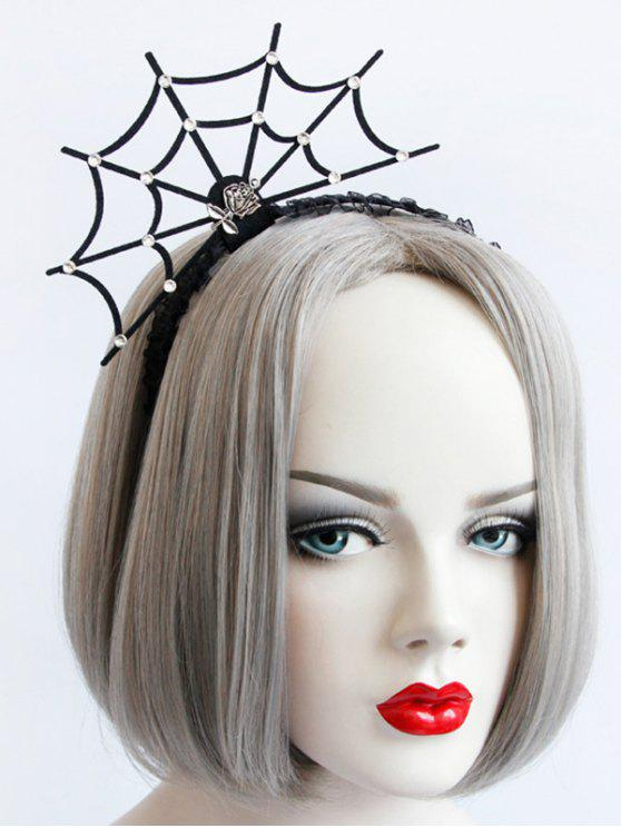 Halloween Rose Spider Web Lace Hairband - Noir