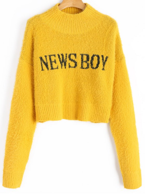 Fuzzy News Boy Graphic Mock Neck Sweater YELLOW: Sweaters ONE SIZE ...