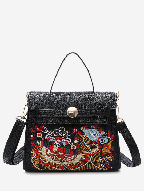 حقيبة يد من الجلد المصنع مزينة بتطريز - أسود
