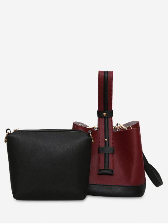 lady Color Block Two Tone Handbag - WINE RED
