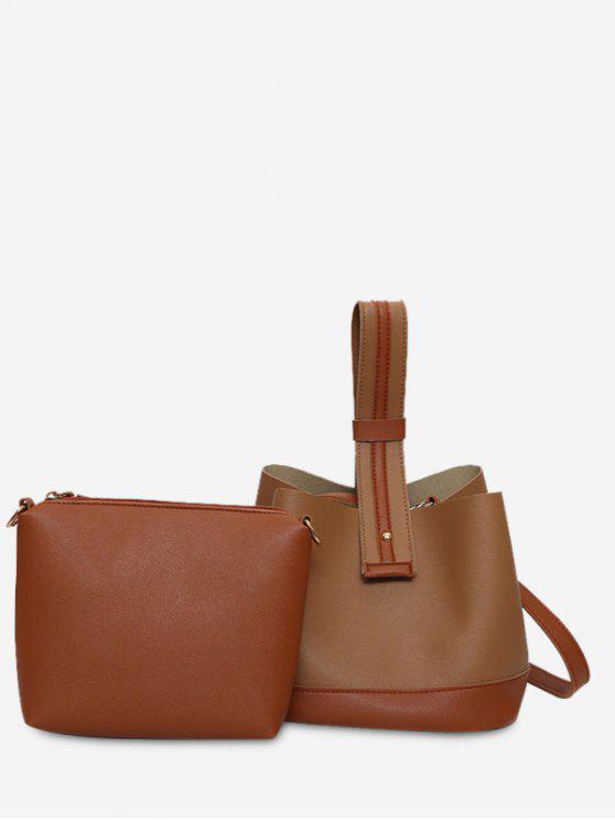 best Color Block Two Tone Handbag - BROWN
