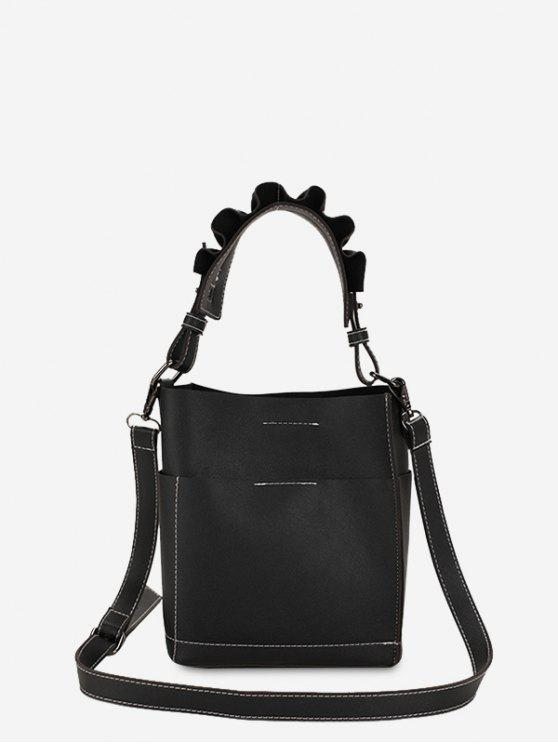 hot Stitching Ruffles Tote Bag - BLACK