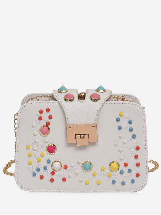 Remache Multi Colores Crossbody Bolsa - Blanco