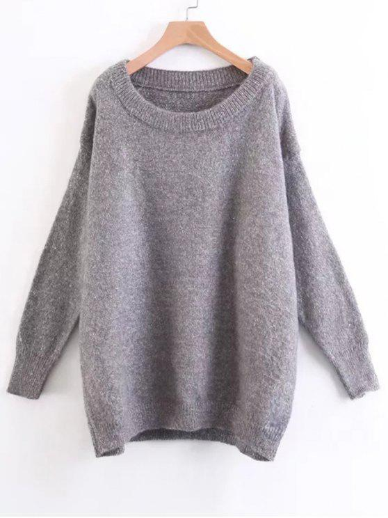 shops Drop Shoulder Oversized Fuzzy Sweater - GRAY ONE SIZE