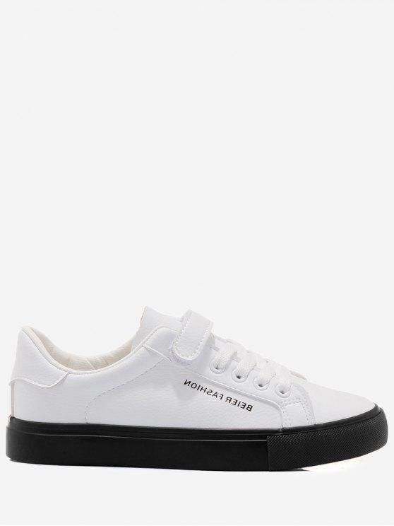 trendy Letter Contrasting Color Skate Shoes - WHITE AND BLACK 38