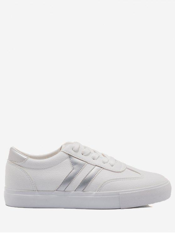 shop Striped Contrasting Color Skate Shoes - SILVER AND WHITE 38