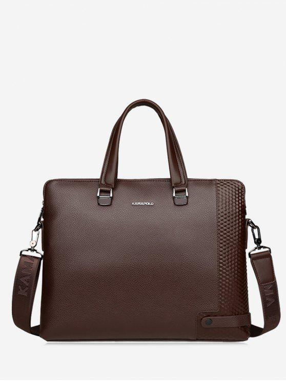 online Metal Strap Letter Handbag - BROWN