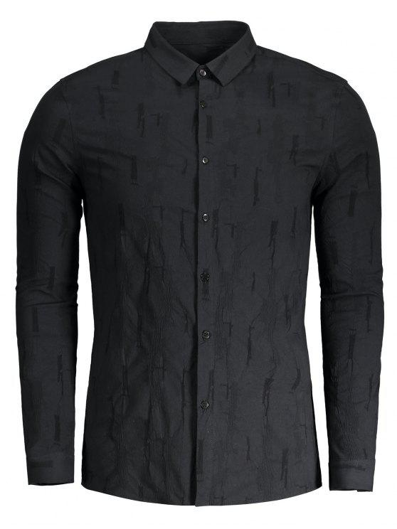 trendy Crinkly Button Up Shirt - BLACK XL