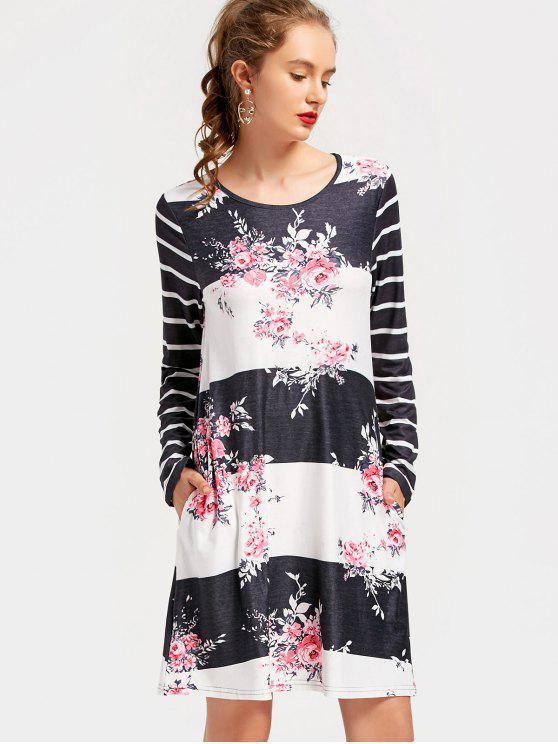 Latest Flower Print Striped Shift Dress Fl L