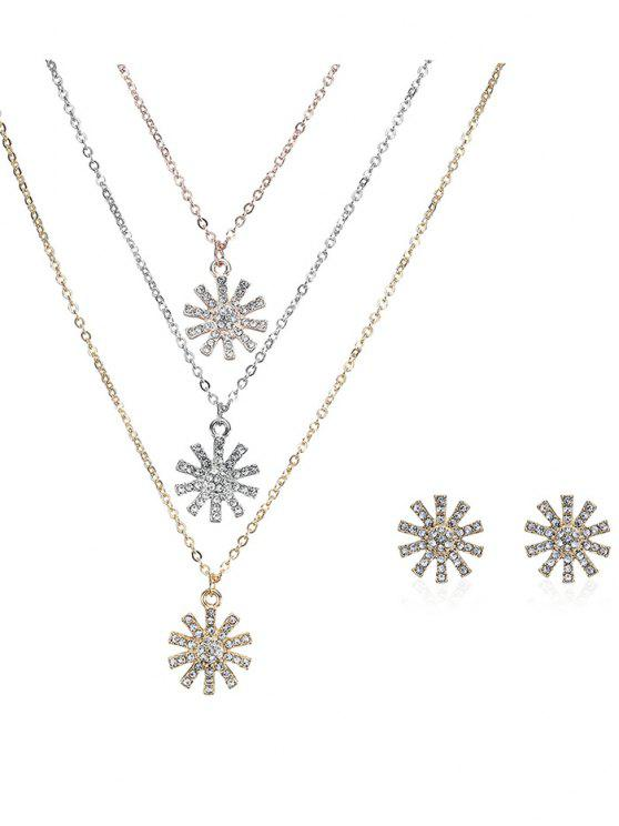 shops Rhinestone Layered Sun Necklace and Earrings - COLORMIX