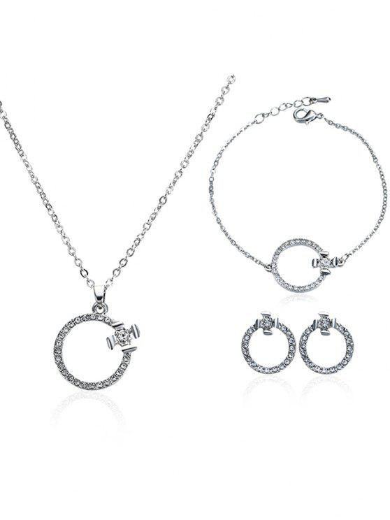 latest Rhinestone Circle Earrings Necklace and Bracelet - SILVER