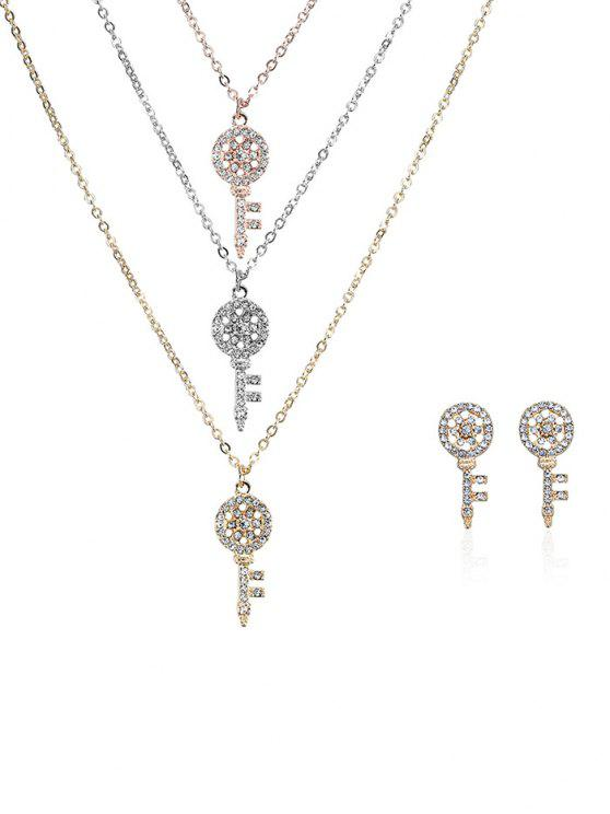 fashion Rhinestone Layered Key Necklace and Earrings - COLORMIX