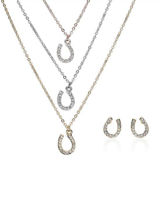 fancy Rhinestone Layered Horseshoe Necklace and Earrings - COLORMIX