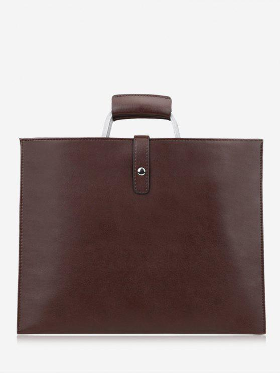 Stitching PU Leather Handbag - Castanho
