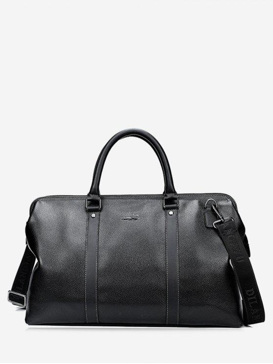 lady Rivet Stitching PU Leather Tote Bag - BLACK