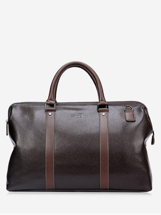 best Rivet Stitching PU Leather Tote Bag - BROWN