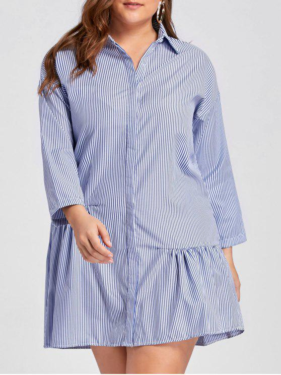 5a4780803e5 64% OFF  2019 Plus Size Stripe Button Up Drop Waist Dress In BLUE ...