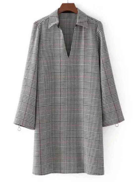 Reißverschluss,Langärmlig,V-ausschnitt komfortable Kleid - Kariert S