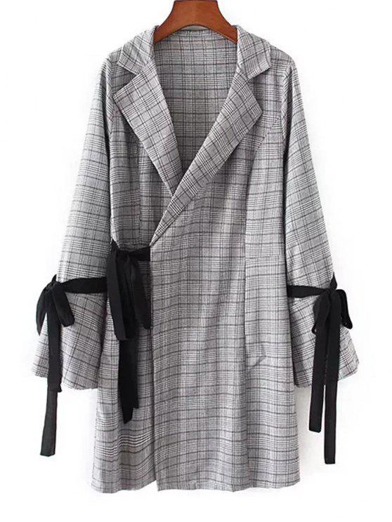 فستان مصغر لف منقوش توهج الأكمام - التحقق M
