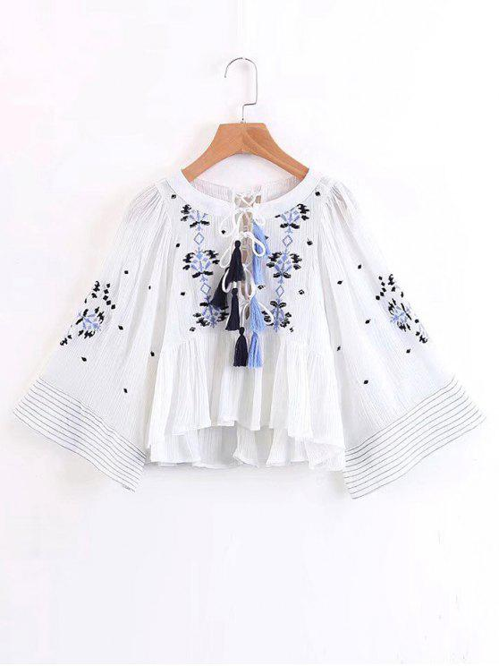 3e4d88677a9115 33% OFF  2019 Embroidered Tassels Lace Up Blouse In WHITE
