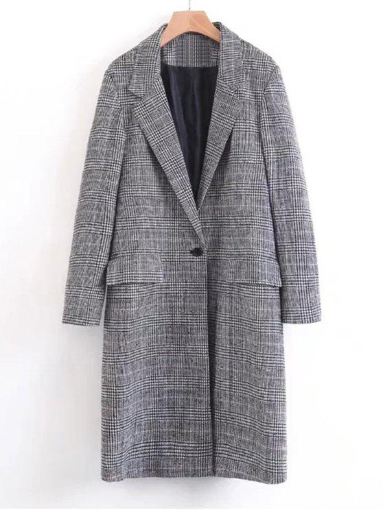women's One Buttoned Long Sleeve Checked Coat - BLACK L
